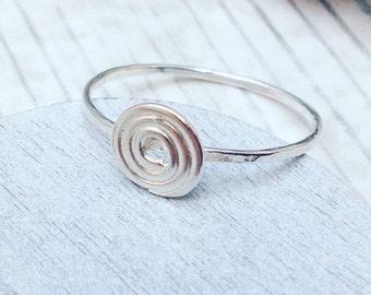 Swirl Ring, Spiral Ring, Sterling Silver Spiral Ring, Silver Circular Ring, Scrolled Silver Ring, Silver Scroll Ring,