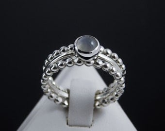 Sterling Silver Moonstone Stacking Ring Set