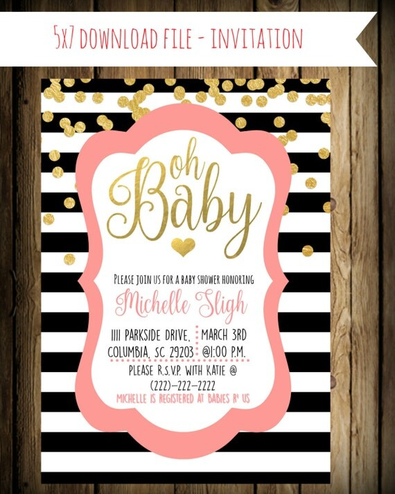 kate spade inspired baby shower invitation custom pink black and
