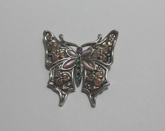 Vintage Costume Jewelry Butterfly Brooch With Stones
