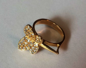18K Yellow Gold Butterfly Ring, Size 5