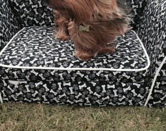 Custom Dog Couch (Black and White Bones)