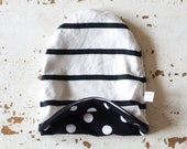 Premie - 12 mo Reversable Hat. Newborn black & white striped and polka dot fabric hat.