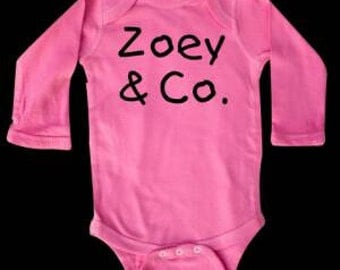 Baby Girl Pink Long sleeve personalized onesie all sizes