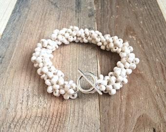 Beaded White Czech Beaded Bracelet