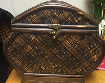 Large Wicker and Velvet Jewelry Box.