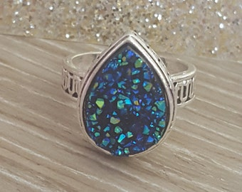SALE!!! Teardrop Druzy Ring. Size 10