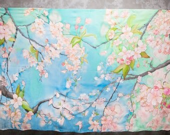 Wedding Chuppah Sakura tree branches in bloom Extra large silk scarf shawl Pink Cherry Blossoms in Sky blue and aqua green hand painted