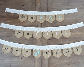 Hessian Baby Shower Celebration Bunting Banner