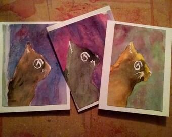 Cat portrait original Watercolor paintings art secular atheist card Atheist A