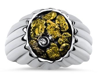 2191# Men's Gold Nugget Ring-Promotion 20% Off