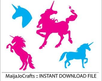 Unicorn SVG cutting file, Cricut files, Cricut downloads DXF file PNG instant download Silhouette Cameo designs Cricut designs  Vector file