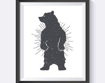 Bear Wall Art, Nursery Wall Art, Kids Wall Art, Bear Art, Girls Room, Boys Room, Nursery Art, Digital Print Wall Art