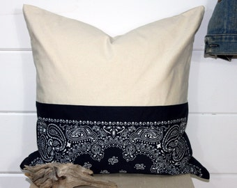 Vintage Bandana/Canvas Pillow Cover