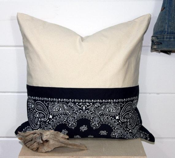 SALE Vintage Bandana/Canvas Pillow Cover