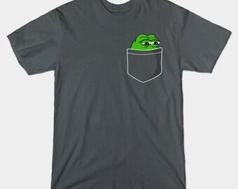 Pepe Frog Pocket T-Shirt - Sad Frog Meme Shirt - Dank Meme