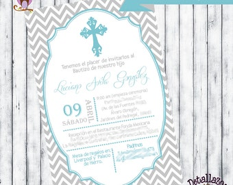 Invitation grey christening