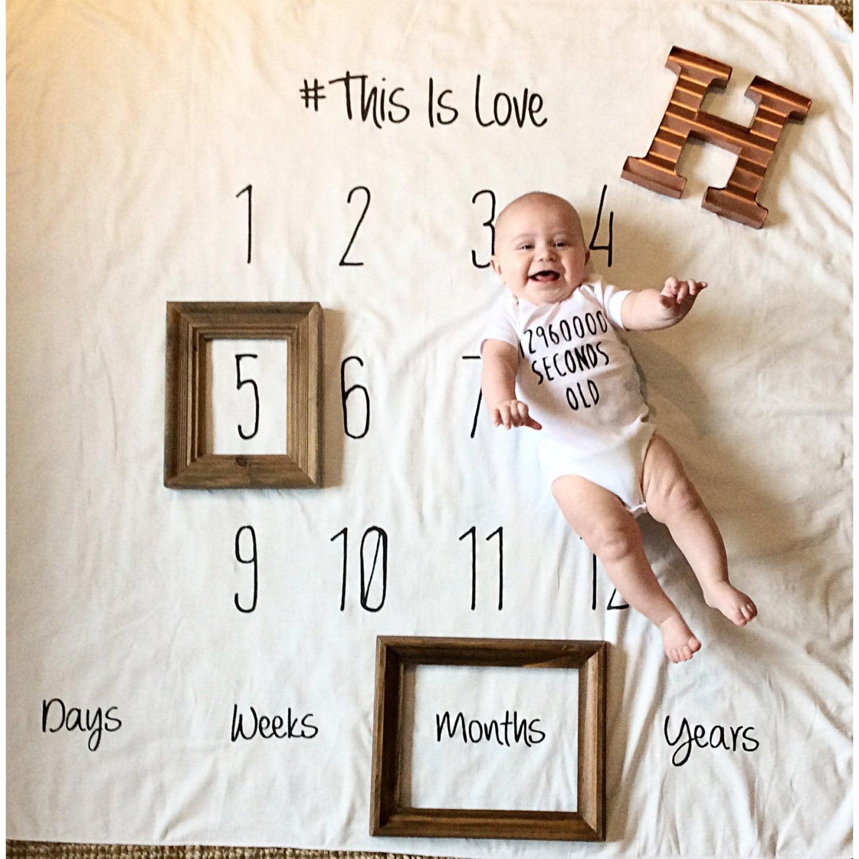 Sale White Baby Monthly Milestones Anniversary Milestone
