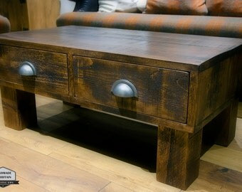 2 Drawer Storage Coffee Table. Rough Sawn Rustic Pine. Unique push/pull design.