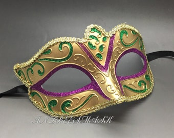 New Women Venetian Gold Masquerade Mardi Gras Costume Party Mask