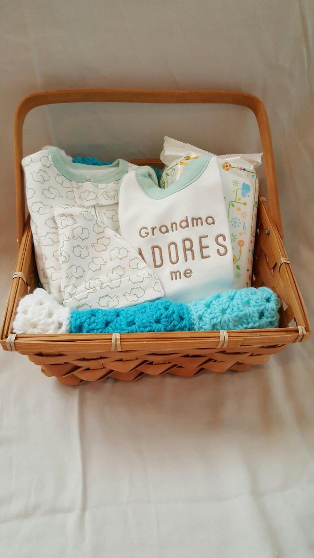 Baby Gift Basket Etsy : Gender neutral baby gift basket by snugglebugglecrochet on