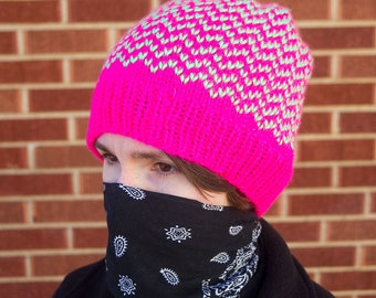 Neon Pink and Green Beanie