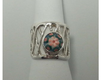 Ring networks made in 925 Silver with hand-painted ceramic piece