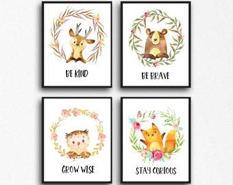 Nursery Animal Prints, Nursery Animal Wall Art, Nursery Wall Decor, Nursery Animal Decor, Woodland Nursery, Woodland Animals, deer printable