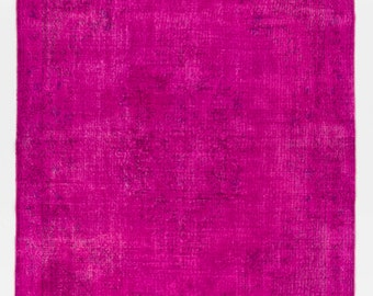 7x10.6 Ft Hot Fuchsia Pink color OverDyed Vintage Turkish Rug. Ideal for both residential and commercial interiors. Wool & Cotton. D723