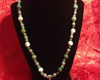 Genuine Mossy Agate Necklace with Pendant