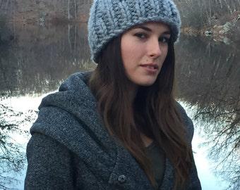 Bulky Light Gray Knitted Hat