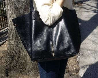 soft leather tote/ltalian leather bag/Black Leather Shopper/Black Leather handbag /Black Leather tote / Women's Handbag / Raw Edged Shopper