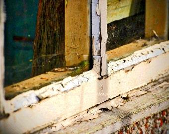 old window print, old window frame art, peeling paint photo, old window peeling paint, urban photo, old window frame, old window fine art