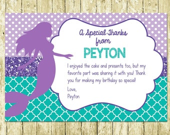 Mermaid Under the Sea Printed Birthday Thank You Cards