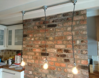 Up-cycled rustic/industrial galvanised steel/chrome 3 drop ceiling light