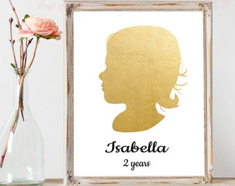 Personalized Child Silhouette Print Faux Gold Foil or Color Mother's Day Gift for Wife Gift for Grandmother Gift for Mom Personalized Baby
