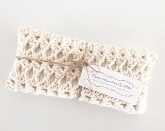 Organic Aromatherapy Eye Pillow, Organic Cotton, Hand Crocheted