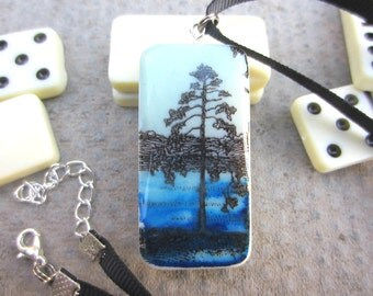 Tree Necklace, Blue Necklace, River Necklace, Domino Pendant, Domino Necklace, Nature Jewellery, Nature Jewelry, Handmade Necklace, OOAK