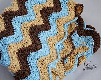 Baby blanket (beige-brown-blue), chevron stripes - baby nursery
