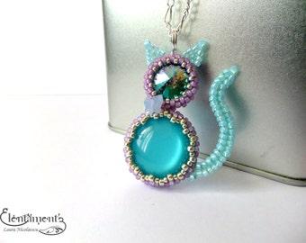 Blue cat pendant