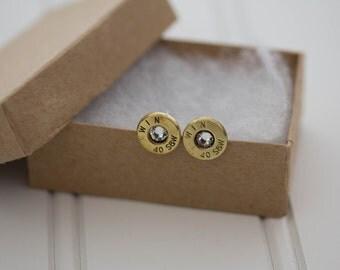 WIN 40 S&W Earrings Clear Crystal - Ready to Ship