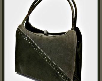 lennox bags vintage. vintage lennox handbag,vintage vinyl faux suede handbag, grey handbag bags