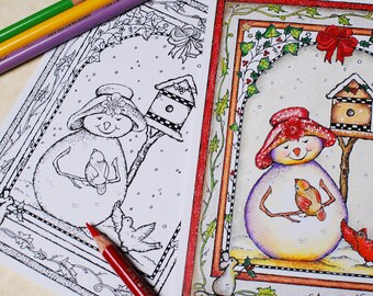 Winter Friends Color-Your-Own Greeting Card