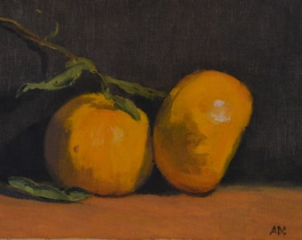 Tangerines, still life, oil painting, food art, kitchen art, small art