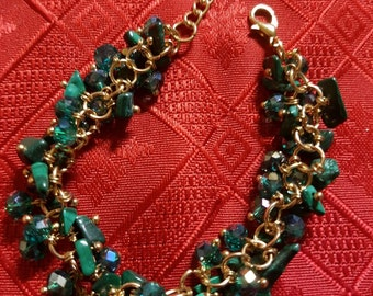 Crystal and Natural Beads Gold Color Chain Bracelet