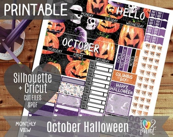 October Halloween Monthly View Printable Planner Stickers, Erin Condren Planner Stickers, Monthly Overview Stickers, Watercolor CUT FILES