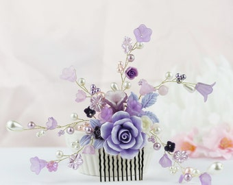 Lavender Purple Ivory wedding, Bridal gift hair accessory, Bridesmaids gift comb, Rustic wedding comb. TR44