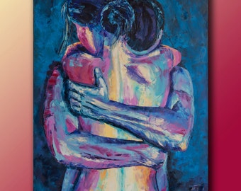 Passion couple in love, love, tenderness, embracing men and a woman