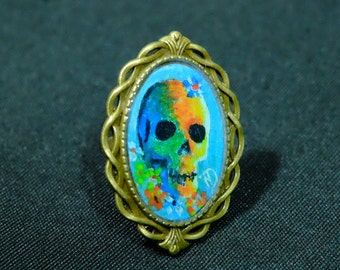 Ring adjustable oval bronze skull, Medallion: 25 mm x 35 mm, coloured