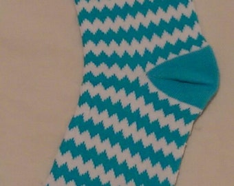 Sock Monkey - blue and white chevrons